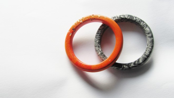 jade mellor orange grey bangle