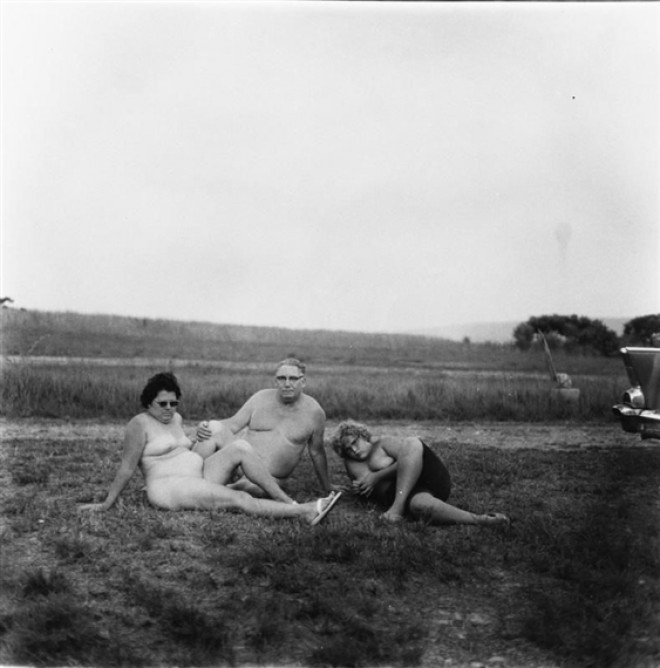 a family one evening in a nudist camp Diane Arbus