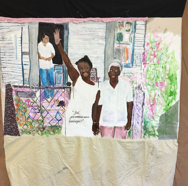 Tameka Jenean Norris, Joel Want a Hamburger, work in progress, 2016, fabric, canvas, acrylic paint, thread, oil pastel, 50 x 50in, courtesy the artist and Ronchini Gallery