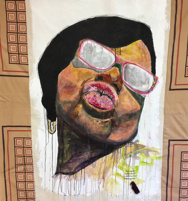 Tameka Jenean Norris, Marilyn No Matter What He Do, work in progress, 2016, fabric, canvas, acrylic paint, thread, 55 x 50 in, courtesy the artist and Ronchini Gallery