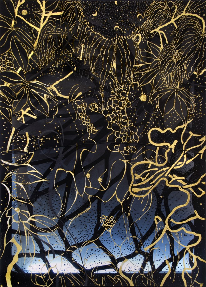 Lina Iris Viktor, Black Union Pure 24 Karat Gold, Acrylic, Charcoal, Poly Resin, Wood on Fabric 2017. Unique, courtesy the artist and Amar Gallery, London
