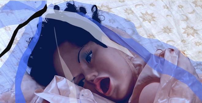 Renate Bertlmann, Eva im sack ('Eva in bag', 2010) (detail). Digital print, 80 x 80 cm. Courtesy: the artist and Richard Saltoun, London